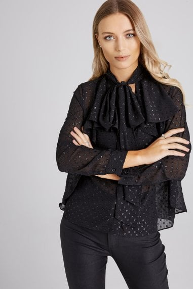 Bedford Black Lurex Pussybow Blouse
