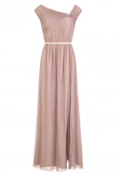 Elodie Mink Off The Shoulder Maxi Dress