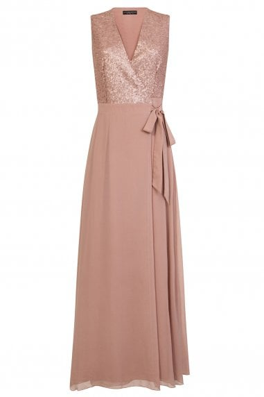 Josie Mink Sequin Wrap Maxi Dress