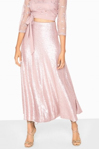 Arabella Metallic Sequin Draped Skirt
