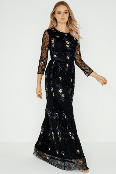 Luxury Stella Floral Beadwork Dress