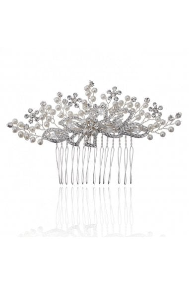 Silver Grace Spray Mini Pearl Flower Comb