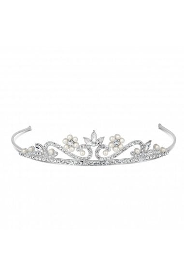 Childs pearl and crystal flower tiara