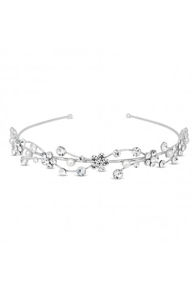 Silver Crystal Flower And Pearl Wave Headband