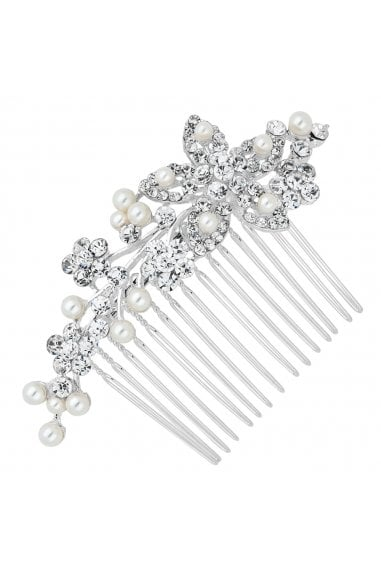 Silver Pearl And Crystal Cluster Flower Hair Comb