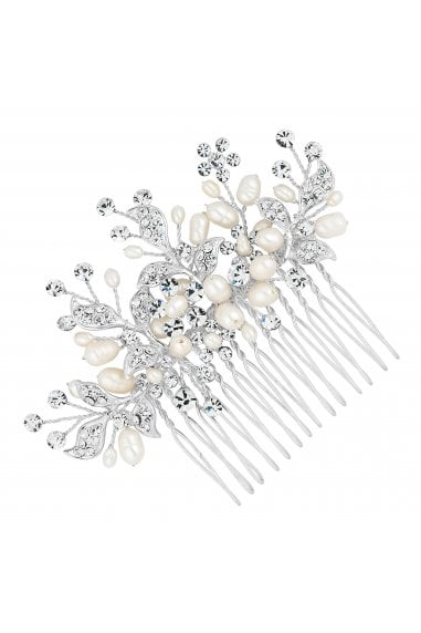 Designer Silver Crystal Leaf And Freshwater Pearl Spray Comb