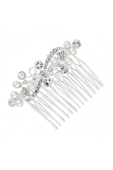 Silver Pearl And Crystal Hair Comb