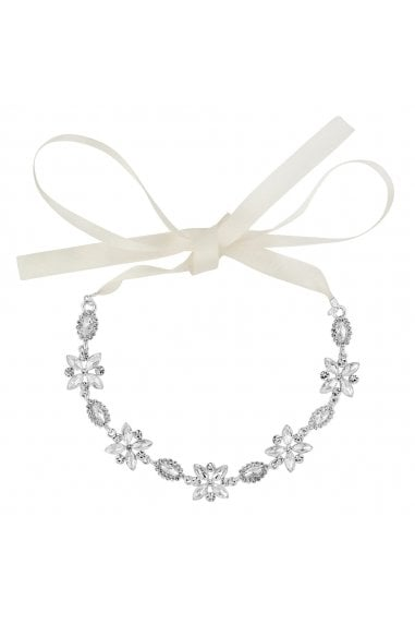 Silver navette hair ribbon halo