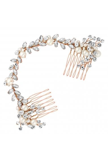 Rose Gold Pearl And Crystal Double Hair Comb