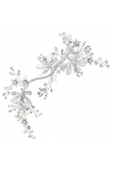 Designer Silver Crystal Leaf And Pearl Bead Hair Clip