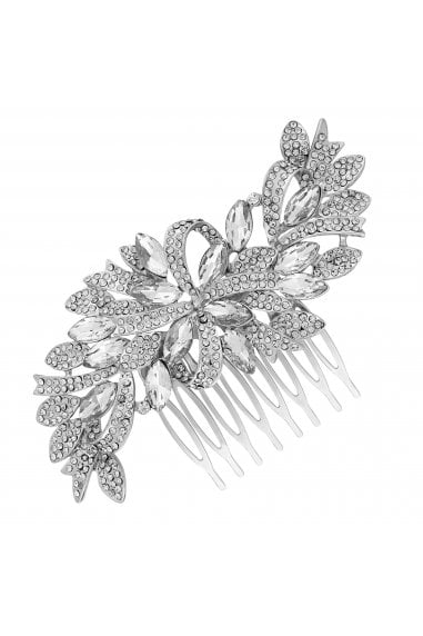 Silver Crystal Ribbon Swirl Hair Comb