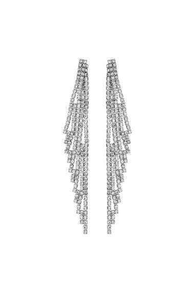 Silver Diamante Drop Statement Earring