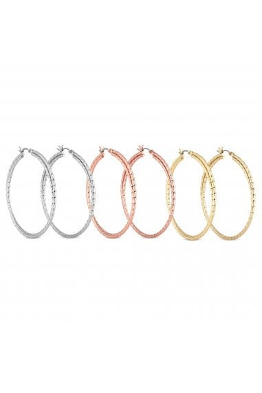 Gold And Silver Hoop Earring Set Pack Of 3