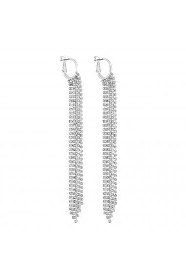 Silver Diamante Crystal Tassel Hoop Earrings