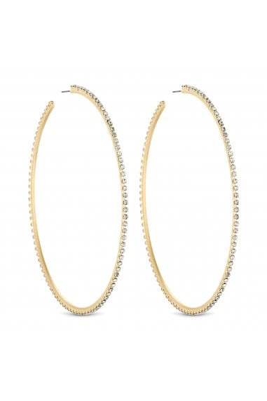 Gold Diamante Crystal Oversized Hoop Earring