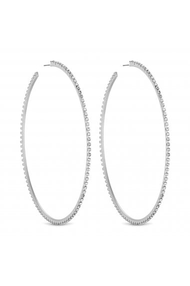 Silver Diamante Crystal Oversized Hoop Earring