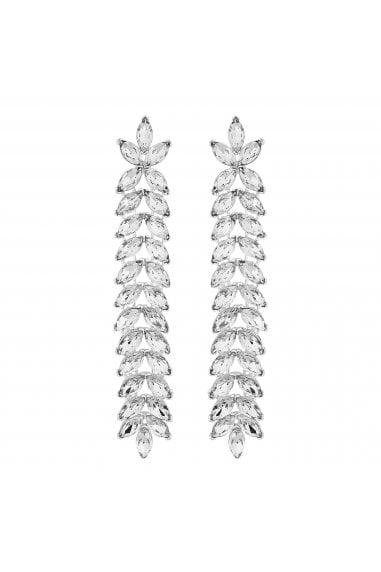Silver Crystal Leaf Drop Earrings