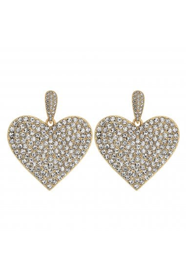 Gold Crystal Embellished Oversized Heart Drop Earrings