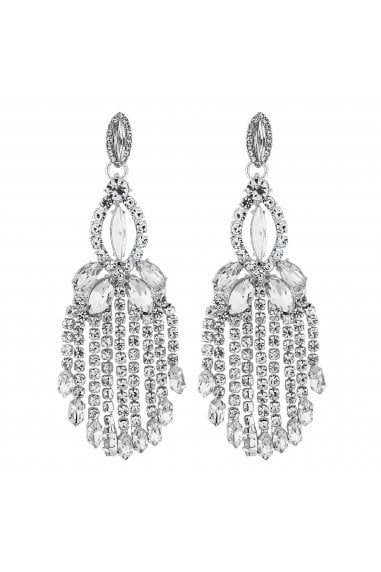 Silver Crystal Chandelier Drop Earrings