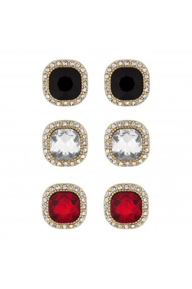 Multi Tone Crystal Square Halo Stud Earring