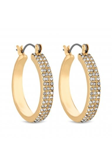 Gold Crystal Encrusted Hoop Earrings