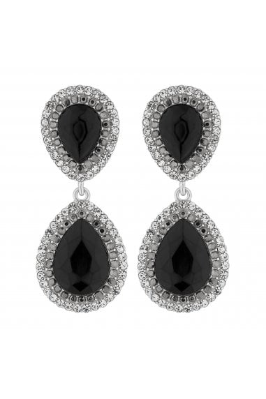 Silver Black Crystal Peardrop Earrings