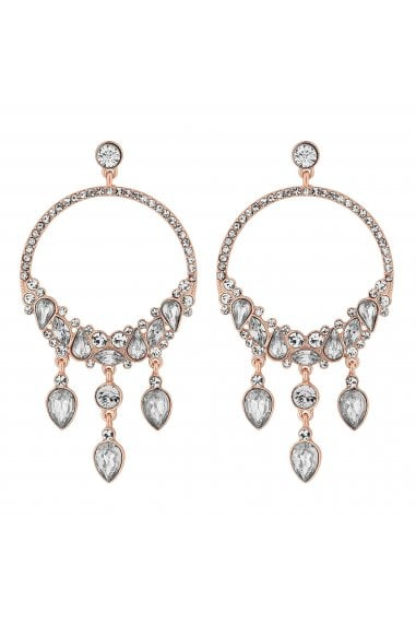 Rose Gold Crystal Cluster Hoop Earrings