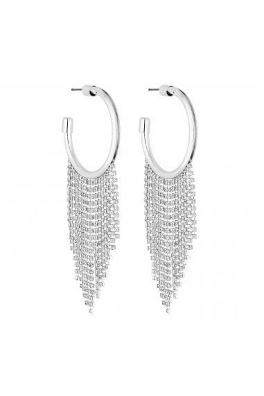 Silver Diamante Fringed Hoop Earring