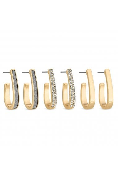 Gold Crystal Hoop Earring Set