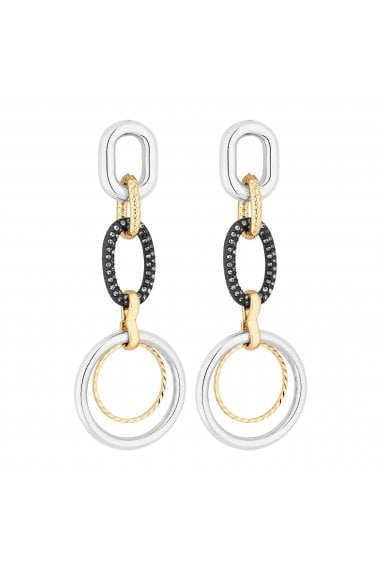 Crystal Pave Circle Link Drop Earring