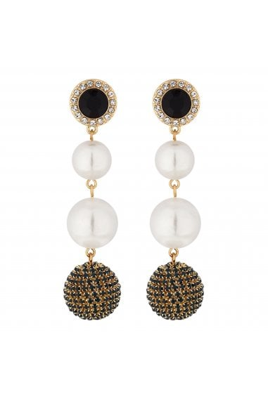 Gold Crystal Orb And Pearl Drop Earrings