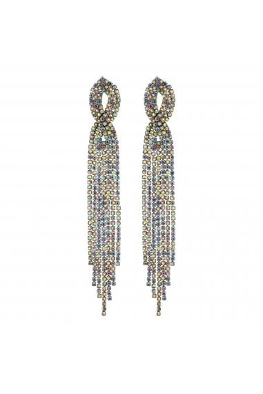 Gold Crystal Diamante Twist Drop Earrings