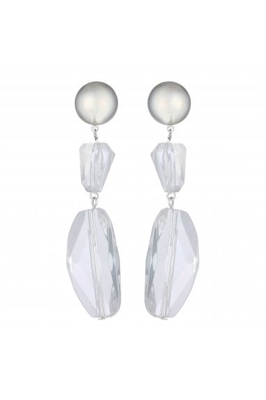Silver Multi Shape White Resin Statement Earring
