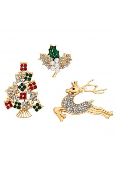 Gold Crystal Christmas Brooch Set