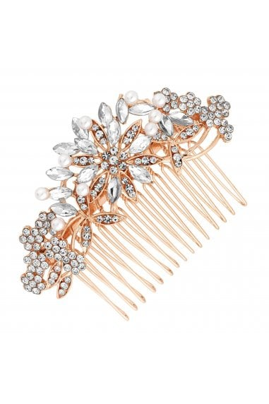 Rose Gold Crystal Floral Hair Comb