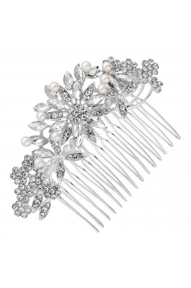 Silver Crystal Floral Hair Comb