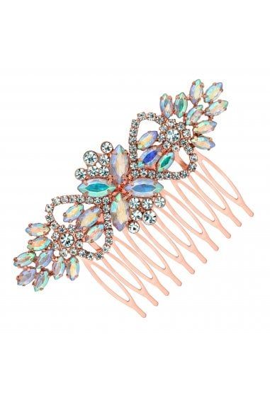 Rose Gold Floral Crystal Hair Comb