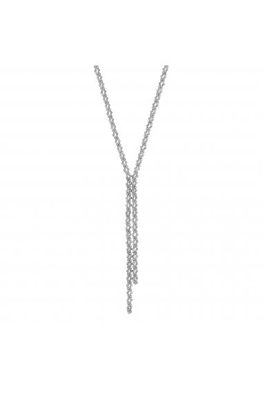 Silver Crystal Lariat Necklace