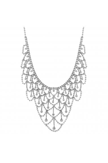 Silver Diamante Drape Statement Necklace