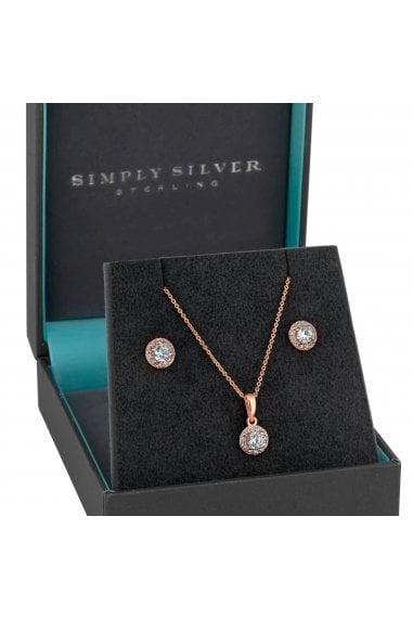 14ct Rose Gold Plated Sterling Silver Oversized Round Halo Jewellery Set In A Gift Box