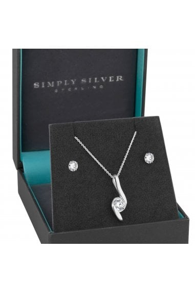 Sterling Silver Cubic Zirconia Swirl Jewellery Set