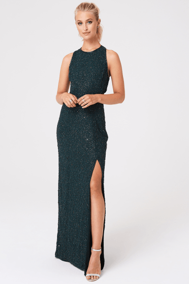 Luxury Umran Green Hand-Embellished Sequin Maxi Dress