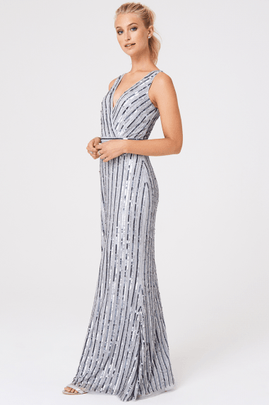 Luxury Evalina Embellished Striped Sequin Maxi Dress