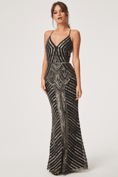 Luxury Melania Black Deco Hand-Embellished Maxi Dress