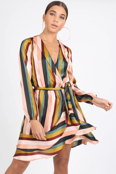Logan Stripe Satin Wrap Dress