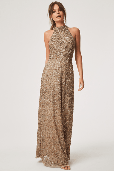 Nicky Hand Embellished Sequin Maxi Dress With Keyhole