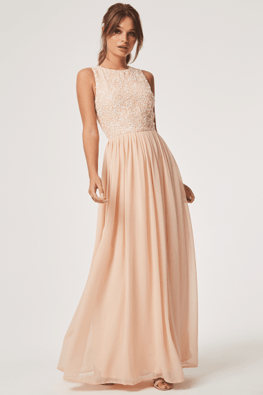 Luxury Anya Nude Hand Embellished Sequin Maxi Dress