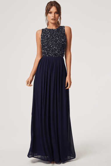 Luxury Anya Navy Hand Embellished Sequin Maxi Dress