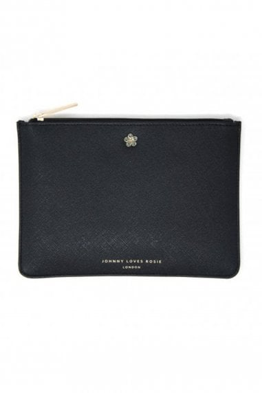 Black Floral Jewelled Medium Pouch