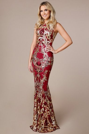 Stephanie Pratt Scalloped Hem Sequin Maxi Dress